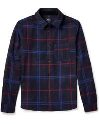 A.P.C. Regularfit Check Woolblend Flannel Shirt - Lyst