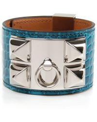 Hermès | Blue Izmir Shiny Alligator Collier De Chien Bracelet | Lyst