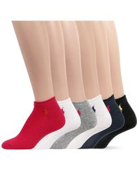 Ralph Lauren Special Value Flat Knit Sport Ped Socks 6 Pack - Lyst