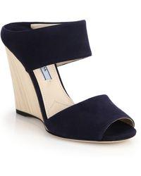 Prada Wooden-Wedge Suede Mule Sandals - Lyst