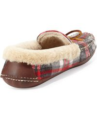 Ralph Lauren Collection - Shearling Fur-Lined Plaid Slipper - Lyst