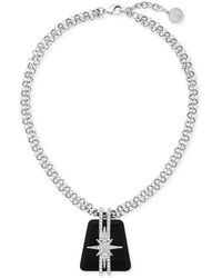 Vince Camuto - Rhodium-plated Starburst Crystal And Resin Pendant Necklace - Lyst