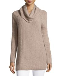 Neiman Marcus | Cashmere Ribbed Cowl-neck Tunic | Lyst