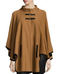 Misook - Textured Cape Jacket W/ Toggle Front - Lyst