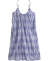 J.Crew Linen Beach Dress In Gingham blue - Lyst
