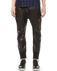 Helmut Lang Leather Curved Leg Pants - Lyst
