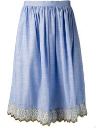 Suno Embroidered Full Skirt - Lyst