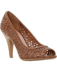 Dune Colette Laser-Cut Peep-Toe Leather Courts - For Women brown - Lyst