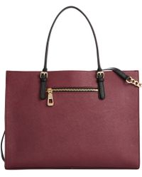 Calvin Klein Purple Leather Satchel - Lyst