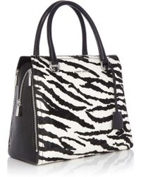 Karen Millen Large Graphic Zebra Box Bag - Lyst