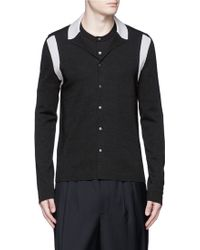 Lanvin | Contrast Panel Wool-silk Cardigan | Lyst