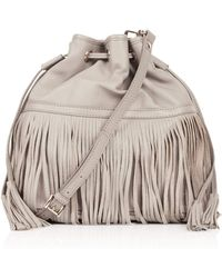 Topshop Leather Mix Fringe Duffle Bag - Lyst