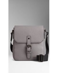 Burberry Matte Signature Grain Leather Crossbody Bag - Lyst