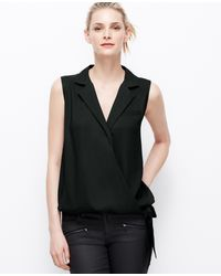 Ann Taylor Collared Wrap Top - Lyst