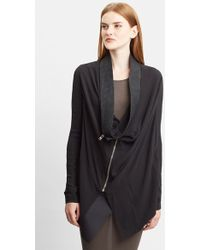Rick Owens Leather Trim Draped Open Front Silk Cardigan - Lyst