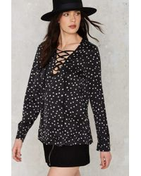 Nasty Gal | One Night Only Lace-up Blouse | Lyst