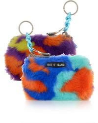 House Of Holland Faux Fur Camo Coin Purse - Lyst