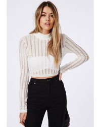 Missguided Cropped High Neck Laddered Knit Jumper Cream - Lyst