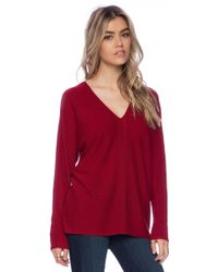 Vince Ladder Stitch Double V Sweater - Lyst