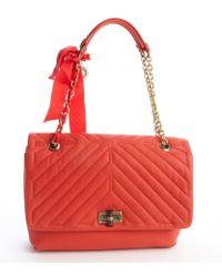 Lanvin Poppy Orange Quilted Leather Large 'Happy' Shoulder Bag - Lyst