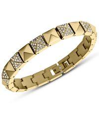 Michael Kors Gold Tone and Glitz Pyramid Link Bracelet - Lyst