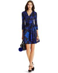 Diane von Furstenberg Dvf Valerie A-Line Wool And Silk Wrap Dress blue - Lyst
