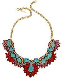 Deepa Gurnani - Stone Pheonix Necklace - Turquoise/Red - Lyst