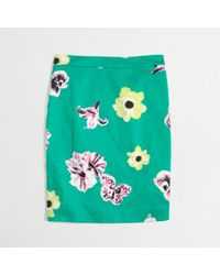 J.Crew Factory Printed Pencil Skirt in Stretch Cotton - Lyst