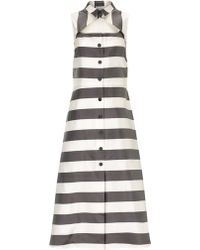Suno Grey Stripe Button Front Dress - Lyst