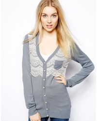 Darling - Cardigan with Lace - Lyst