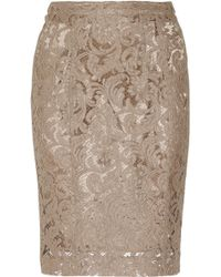 Burberry Cotton Blend Lace Pencil Skirt - Lyst