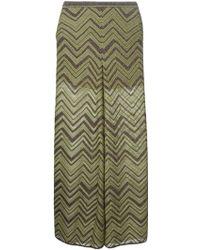 M Missoni Signature Zig Zag Knit Wide Leg Trousers - Lyst