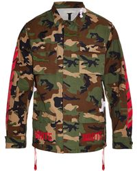 Off White C/o Virgil Abloh Camouflage Cotton Field Jacket - Lyst