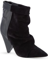 Isabel Marant Andrew Suede and Leather Ankle Boots Black - Lyst