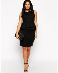 Praslin Plus Size Scuba Peplum Dress - Lyst