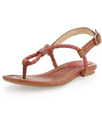 Frye Madison Braided Loop Thong Sandal Burnt Red 8 12 - Lyst