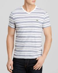 Lacoste Striped V-Neck Tee - Lyst