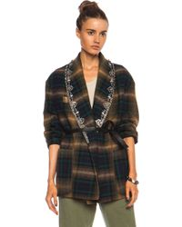 Isabel Marant Milroy Embroidered Check Linenblend Jacket - Lyst