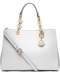 Michael Kors Cynthia Medium Leather Satchel - Lyst