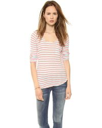 Splendid New Haven Stripe Pocket Tee Skylight - Lyst