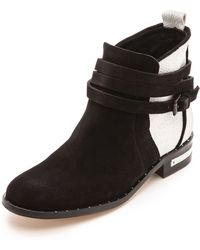 Frēda Salvador Dream Colorblock Booties Blackwhite - Lyst