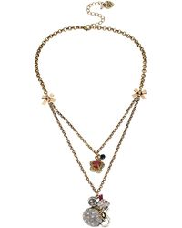 Betsey Johnson Mouse Pendant Two Row Necklace - Lyst