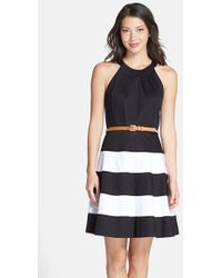 Eliza J Stripe Skirt Cotton Sateen Fit & Flare Dress - Lyst