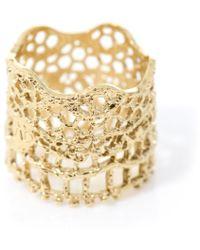 Aurelie Bidermann Gold-Plated Vintage Lace Ring gold - Lyst