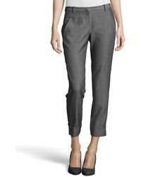 Halston Heritage Skinny Cuffed Ankle Pants - Lyst