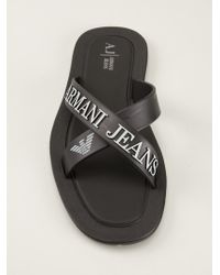 Armani Jeans Black Crossover Sandals - Lyst