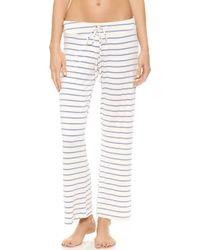 Eberjey Lounge Stripes Wide Leg Pants Blue Shadow - Lyst