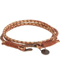 J.Crew Caputo & Co. Antiqued Leather Triple-Wrap Bracelet beige - Lyst