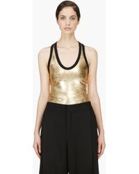 Denis Gagnon - Gold Lam Scratched Tank Top - Lyst