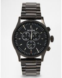 Nixon Sentry Chronograph Stainless Steel Strap Watch - Lyst